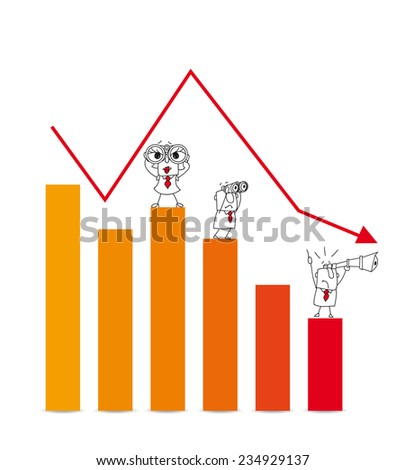 The stock market crash. Two businessmen and a businesswoman are very disappointed.This diagram illustrates the crash of the stock market - stock vector