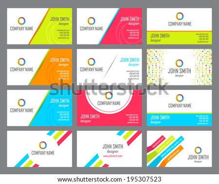 The stylish set of business cards. Vector illustration - stock vector