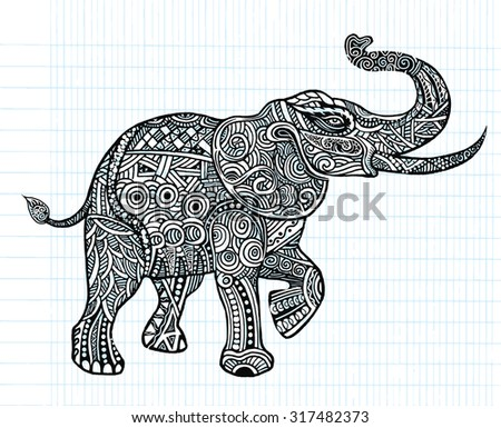 The stylized an elephant,Hand Drawn lace illustration isolated.,Vector Illustration Design Elements on Blue Lined Sketchbook Paper Background - stock vector