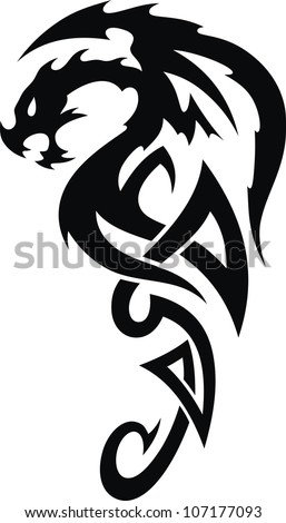 The stylized dragon in the form of a tattoo - stock vector
