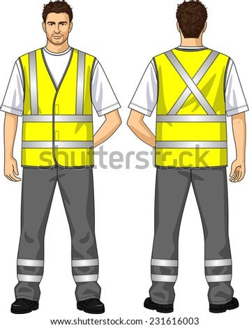 The suit for the man consists of an alarm vest and trousers - stock vector