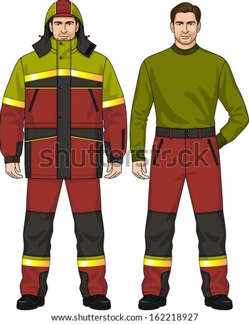 The suit for the man consists of the warmed jacket and trousers - stock vector
