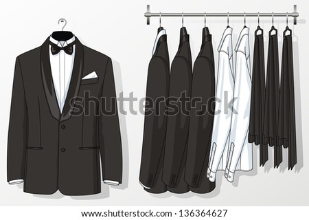 The suit for the man hangs on a hanger - stock vector