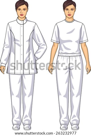 The suit medical for the woman consists of a jacket and trousers - stock vector