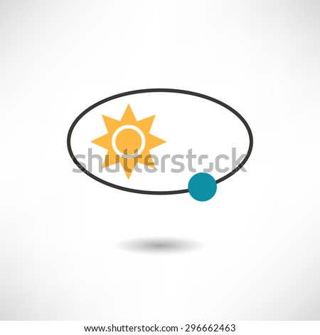 The sun and the earth icon - stock vector