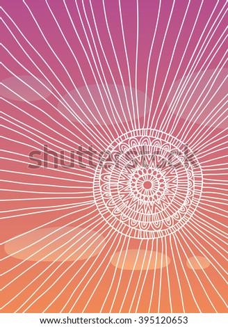 The sun in a purple sky - stock vector