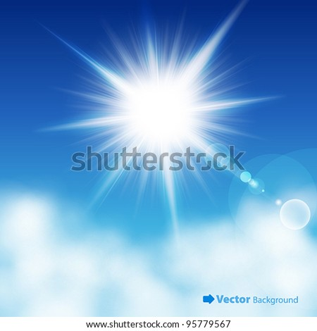 The sun in the blue sky. Vector illustration. - stock vector