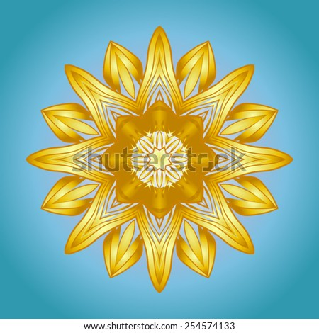 The sun in the form of a yellow circular ornament on blue sky background. - stock vector