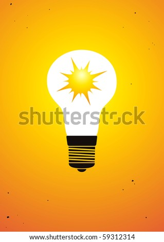 The sun is shining inside bulb - stock vector