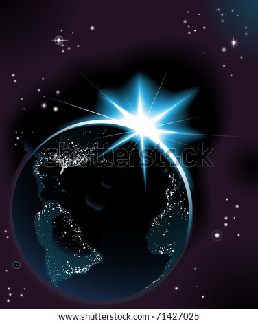 The sun rising over night time planet earth globe with city lights - stock vector