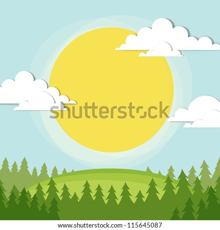 the sun shines on a clearing in the forest - stock vector