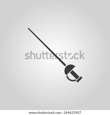 The sword icon. Epee symbol. Flat Vector illustration - stock vector