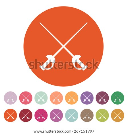 The sword icon. Epee symbol. Flat Vector illustration. Button Set - stock vector