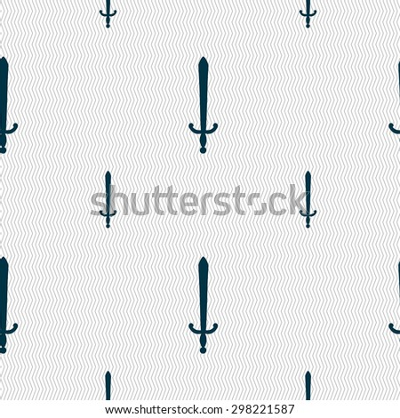 the sword icon sign. Seamless pattern with geometric texture. Vector illustration - stock vector