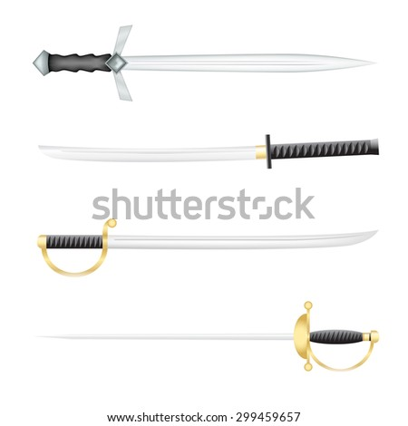 The Swords saber and a epee on a white background - stock vector
