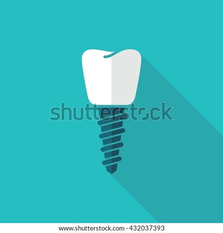 The symbol of tooth restoration. A dental implant - stock vector