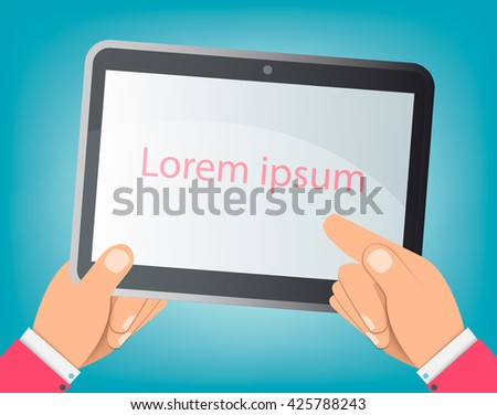 The tablet, hands, consultant, business adviser financial audit, auditing tax process, big data analysis, seo analytics, financial research report, market stats calculate vector - stock vector