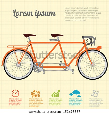 The tandem  bicycle. Vector template. - stock vector