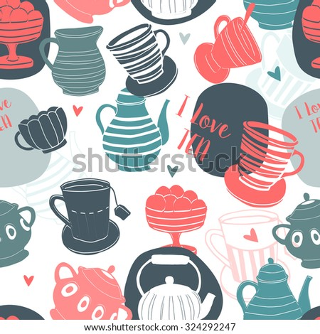 The tea time elements.Tea background. Seamless pattern. - stock vector