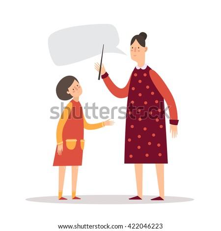 The teacher and student. A little girl listens to the teacher. - stock vector