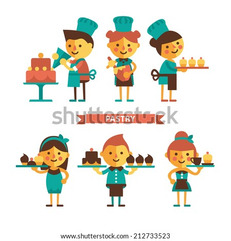 The team of confectioners and waiters in cafes. Confectionery - the staff and sweets. Set of cartoon characters. Flat design - stock vector