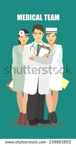 The team of health workers in full growth in retro style - stock vector