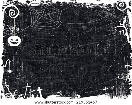 The textured background with Halloween themed frame, scary tree  branches, spiderwebs ,a spooky looking pumpkin, crosses and some lonely grass make it the perfect backdrop for any Halloween design. - stock vector