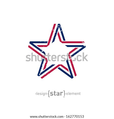 The 4th July Independence day vector star from ribbon with vintage effect - stock vector