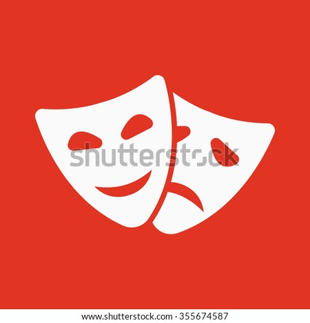 The theater and  mask icon. Drama, comedy, tragedy symbol. Flat Vector illustration - stock vector