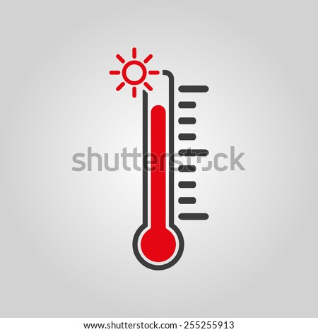 The thermometer icon. High temperature symbol. Flat Vector illustration - stock vector