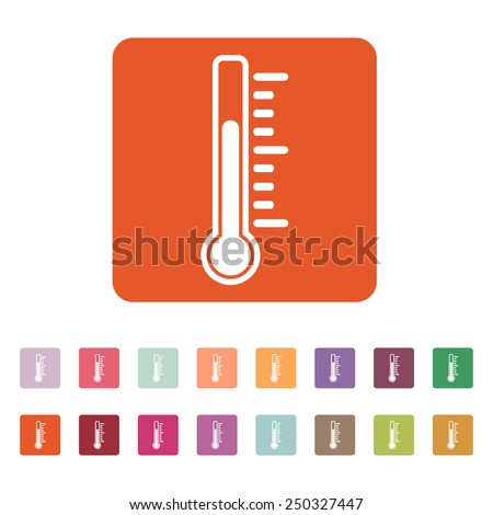 The thermometer icon. Thermometer symbol. Flat Vector illustration. Button Set - stock vector