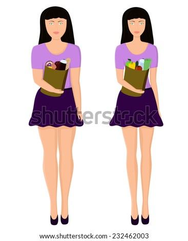 The thin girl with dietary products and the thick girl with high-calorie products - stock vector
