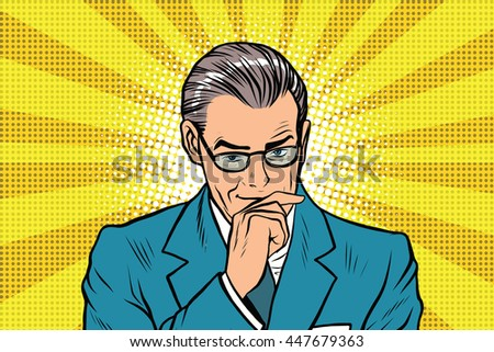 The thinker thinking man pose a sun rays background pop art retro vector - stock vector