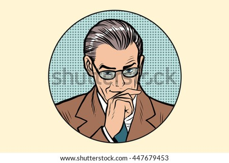 The thinker thinking man pose in the circle pop art retro vector - stock vector