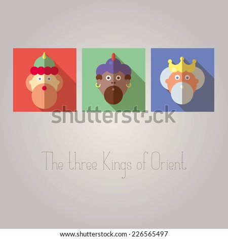 The three Kings of Orient wisemen - stock vector