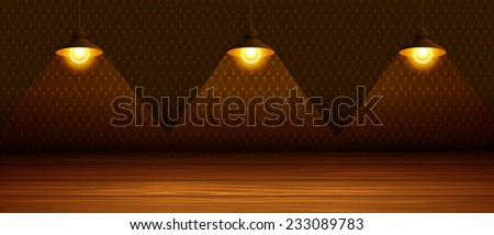 The three lamps in the room with a wooden floor. Vector illustration. - stock vector