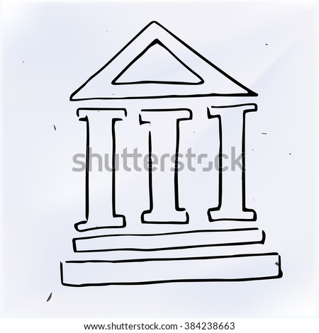 The three pillars of the building, doodle illustration - stock vector