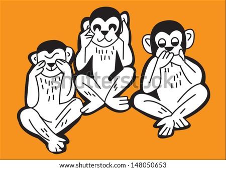 The three wise monkeys, see no evil, hear no evil, speak no evil - stock vector