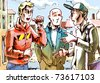 The three young men are talking about something important on the street. - stock vector