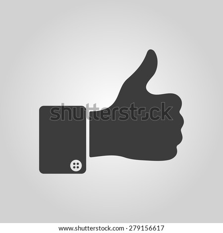 The thumb up icon. Like symbol. Flat Vector illustration. Button Set - stock vector