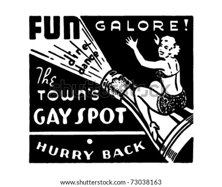 The Town's Gay Spot - Retro Ad Art Banner - stock vector