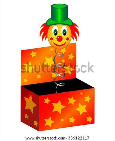 The toy clown  in  the box isolated in white - stock vector