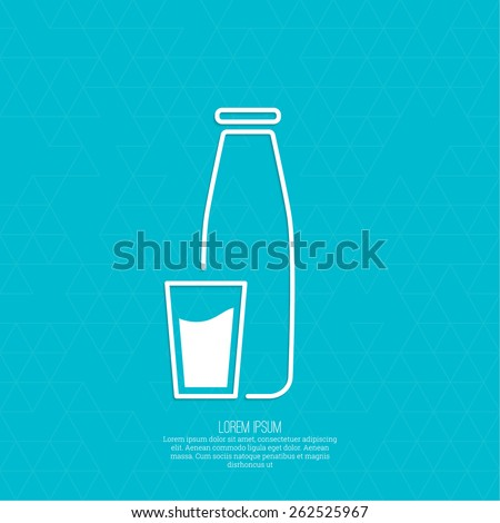 The traditional bottle of milk and glass cup.  Abstract background with a pattern of triangles. icon - stock vector