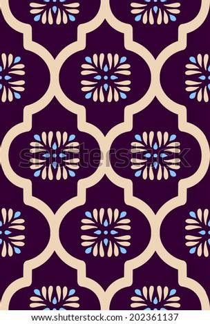 the traditional pattern grille with small flowers - stock vector