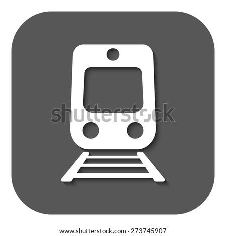 The train icon. Railway symbol. Flat Vector illustration. Button - stock vector