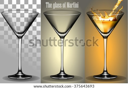 The transparent Glass of Martini with a splash of wine - stock vector