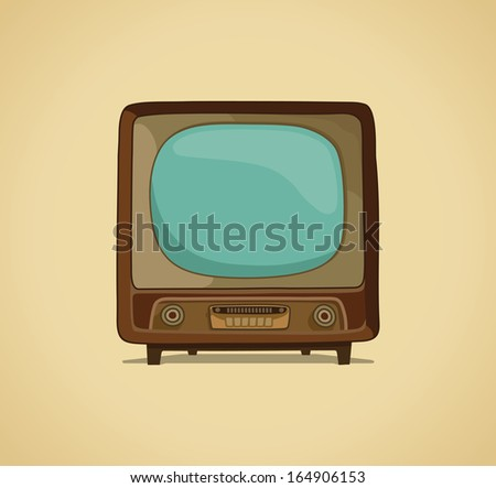 The TV in style of a retro - stock vector