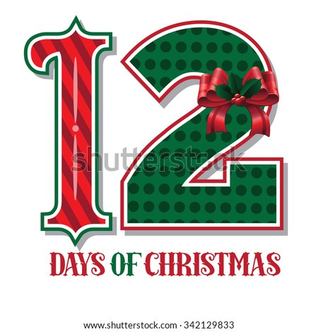 The Twelve days of Christmas EPS 10 vector typographic illustration - stock vector