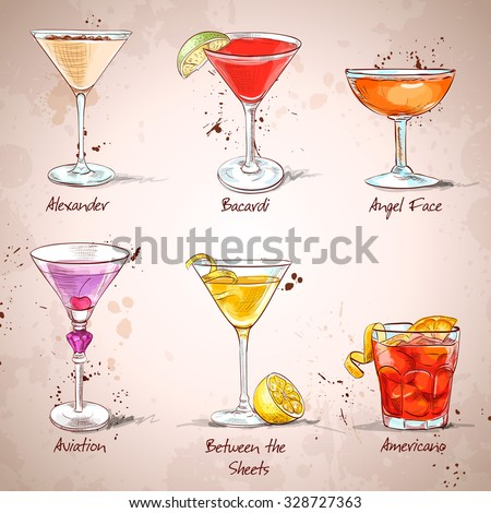 The Unforgettables Cocktail Set , excellent vector illustration, EPS 10 - stock vector
