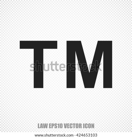 The universal vector icon on the law theme: Black Trademark. Modern flat design. For mobile and web design. EPS 10. - stock vector
